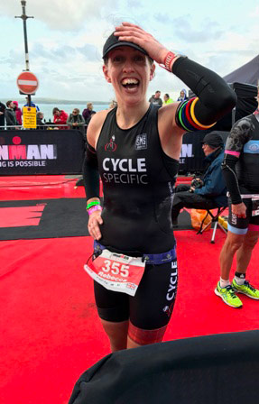 Rebecca Bennett wins her category at Ironman Wales 2017