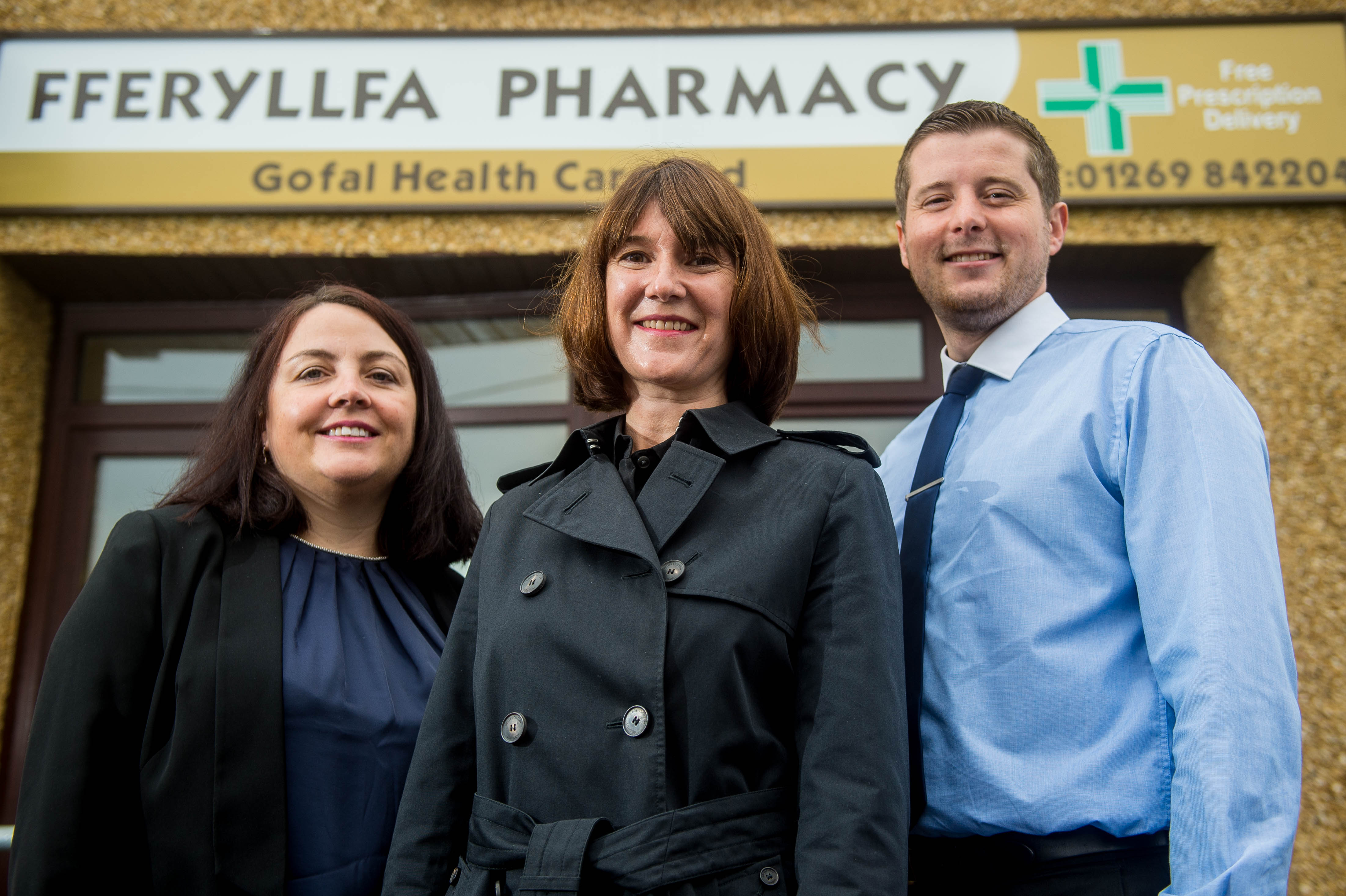 Penny Griffiths (Fferylla Pharmacy), Betsan Powell (JCP Solicitors) and Gareth Harlow (Fferylla Pharmacy)